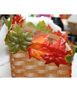 Colorful Fall Leaf - Autumn Leaves Woven Wood Basket - $4.00