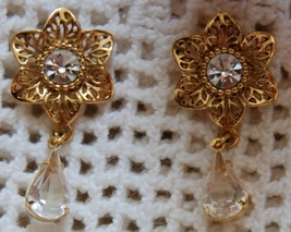 Goldtone & Crystal Floral Dangle Earrings (Pierced Post) - $12.00