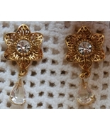 Goldtone & Crystal Floral Dangle Earrings (Pierced Post) - $9.39