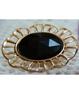Goldtone Scarf Clip with Black Faceted Plastic Cabochon - $6.00