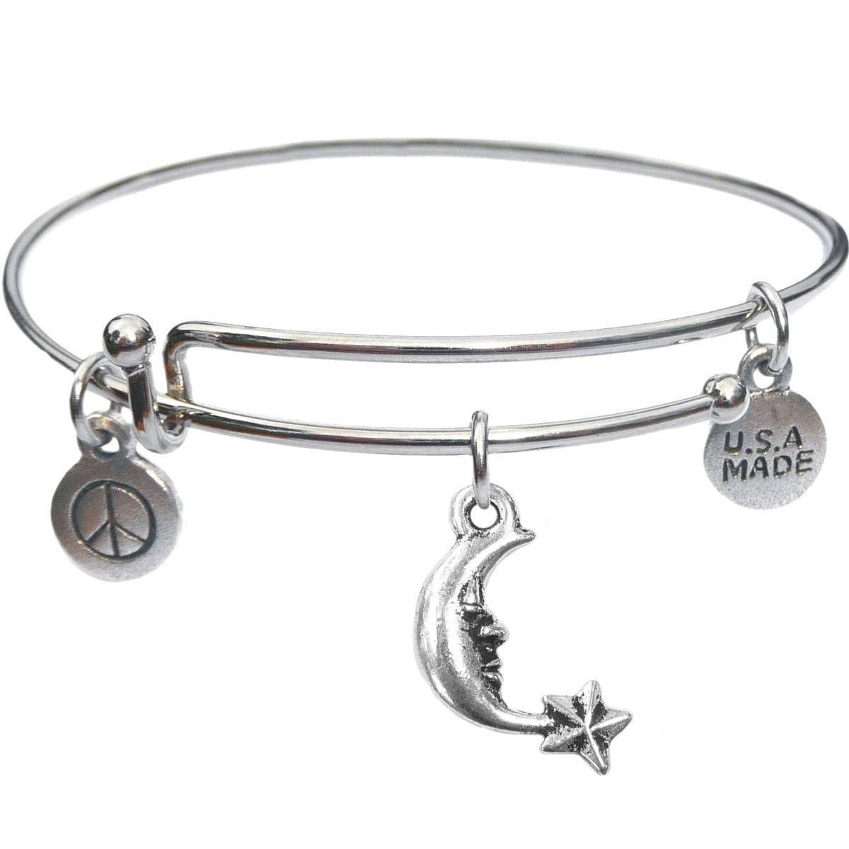 Bangle Bracelet and Moon And Star - USA Made - BBandJT124