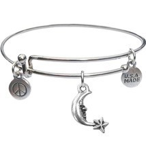 Bangle Bracelet and Moon And Star - USA Made - BBandJT124 - $188,71 MXN