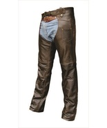 Allstate Leather Mens Retro Brown Chaps lined in Buffalo leather AL2413 - $135.00+