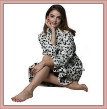 Thick Fleece Black and White Leopard Bath Lounger Robe With Belt Front Pockets