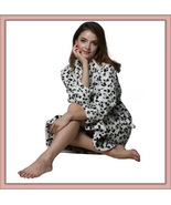 Thick Fleece Black and White Leopard Bath Lounger Robe With Belt Front P... - $67.95