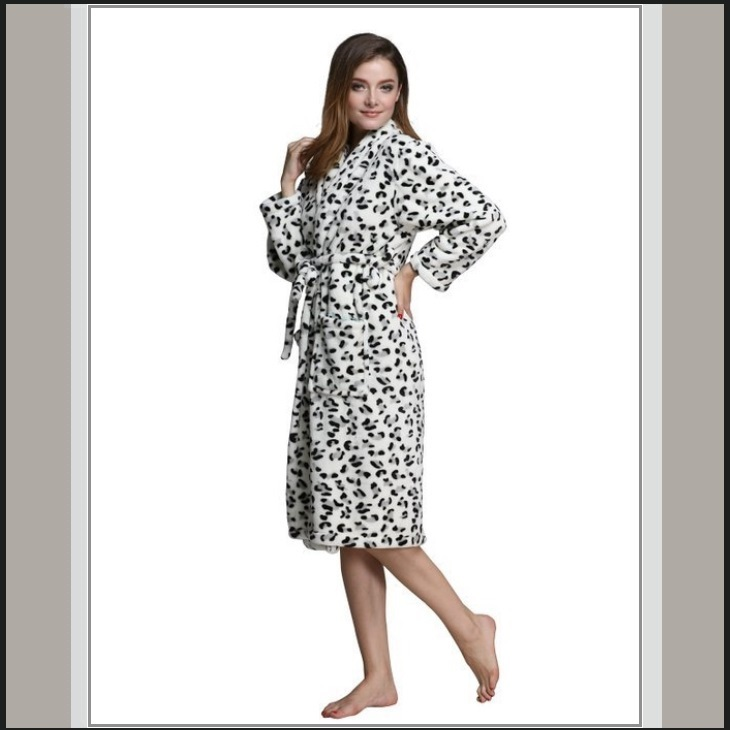 Thick Fleece Black and White Leopard Bath Lounger Robe ...
