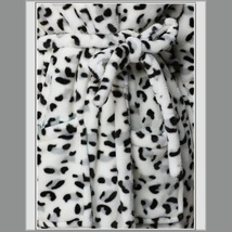 Thick Fleece Black and White Leopard Bath Lounger Robe With Belt Front Pockets image 3