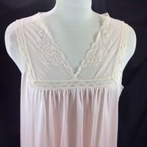 Vtg Lorraine Pink Net Lace Neckline Nightgown Lingerie Sleeveless Nylon M - $25.73
