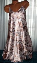 White Tan Gray Floral Chemise Short Gown 1X Plus Size Adjustable straps - $12.50