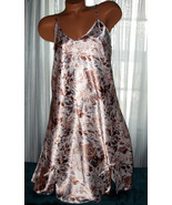 White Tan Gray Floral Chemise Short Gown 1X 2X Plus Size Adjustable straps - $12.50
