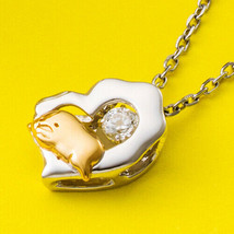 Dancing Stone Necklace Gudetama Sanrio Open Heart Pendant Silver - $213.84