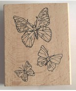 """Butterflies Wooden Mounted Rubber Stamp by Greenbrier Int. 2 1/2"""" x 3"""" - $7.55"""