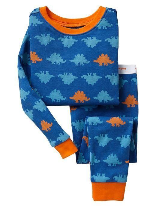 NWT BABY GAP blue STEGOSAURUS DINOS Dinosaur long sleeve 2pc boys pjs