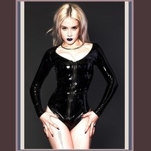 Wet Look Black Faux Latex Leather Long Sleeve O Neck Hip Cut Front Zip Body Suit