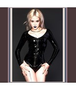 Wet Look Black Faux Latex Leather Long Sleeve O Neck Hip Cut Front Zip B... - $59.95