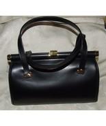 Beautiful Vintage 1950s COBLENTZ Black Leather Bag Handbag Goldtone Trim... - $285.00