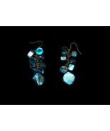 Blue Mother Of Pearl Bead Cluster Drop Pierced Earrings - $5.00
