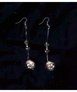 White Flower Lamp Work And Black Crystal Bead Earrings - $10.00
