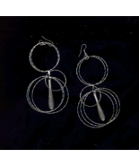 Long Hoopy Silver Drop Pierced Earrings - $5.00