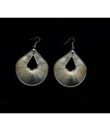 Golden Tear Drop Earrings With Crystals - $5.00