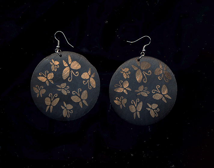 Primary image for HANDMADE Big Round Butterfly Wood Reversed Stenciled Earrings