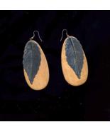 Big Gun Metal Leaf On Wood Long Oval Pierced Earrings - $10.00