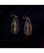 "Handmade 2 3/4"" Gold/brass Cutout Fancy Floral On Wood Drop Earring - $10.00"