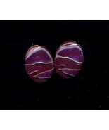 """1980's Purple Enameled On Gold Post 1 3/4"""" Earrings - $5.00"""
