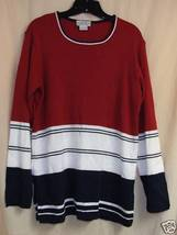 RED / white / blk. long knit Top M/LG 44  - $10.00