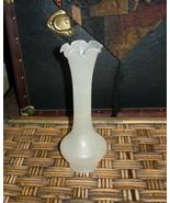 Frosted Glass vintage Fluted Bud Vase - $5.00