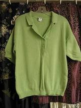 Lime Green Sporty Cotton Knit Top Lg. - $5.00