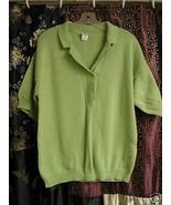 Lime Green Sporty Cotton Knit Top Lg. - $5.00