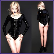Wet Look Black Faux Latex Leather Long Sleeve O Neck Hip Cut Front Zip Body Suit image 2