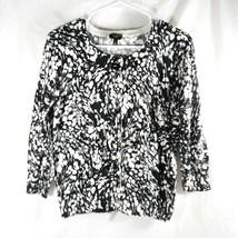 Talbot's Women's Size S Pima Cotton Blend Black and White Floral Shrug S... - $17.85