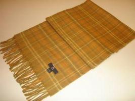 Yellow checked shawl,scarf made of Babyalpaca wool  - $62.40
