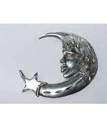 Large, Vintage CRESCENT MOON and STAR Pendant in STERLING Silver - 2 inches - $1.093,80 MXN