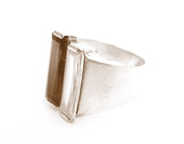 Modernist Signed NF 925 Sterling Silver Wide Smoky Quartz Clear Stone Ri... - $123.75