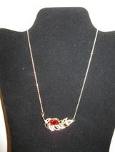 Beautiful Red Garnet & Rhinestone Leaf Necklace New & Hot! #D657 - $14.99