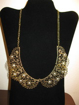 Beautiful Antique Gold Chunky Lace Design Bib Necklace New & Hot! #D660 - $15.99