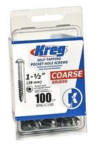 Kreg SML-C150-100 Pocket Screws 1-1/2-Inch, 8 Coarse, Washer-Head, 100-Count