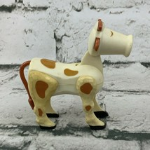 Vintage Fisher Price Little People White Brown Cow Figure - $14.84