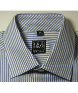 NEW NWT IKE BEHAR M 10-12 Rich Blue White Stripe Dress Shirt Excellent RARE - $99.99