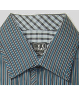 NEW NWOT IKE BEHAR M 10-12 Rich Green Black  Stripe Dress Shirt Excellen... - $99.99