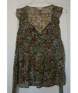 FOREVER  brown colorful floral  V-neck sleeveless  Top  sz S EUC - $4.99