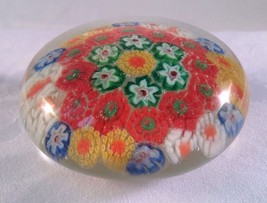 Vintage Murano Style Millefiori Cane Glass Paperweight Flowers Signed - $39.95