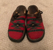Born Women's 10M EU 42 Red Indian Aztec Pattern Slip On Clogs Sandals - $19.95