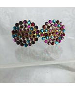 Kirks Folly Hair Clip Barrette Colored Crystal Rhinestone Discs Made In ... - $44.55