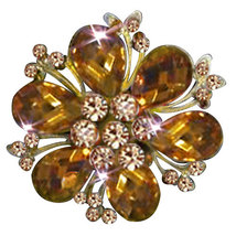 P ugster Vintage Yellow Drop Stone Crystal Rhinestone Open Petal Floral ... - $31.99