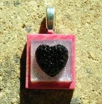 Scrabble Pendant Jewelry Handcrafted Handmade Pink Silver Black Acrylic ... - $3.00