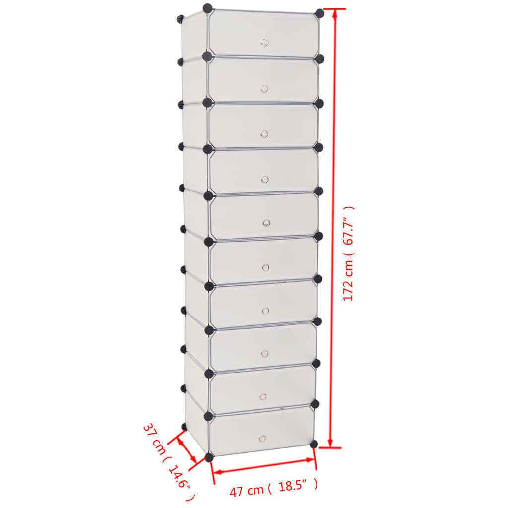 vidaXL Interlocking Shoe Organizer w/ 10 Compartments White Rack Cabinet Shelf